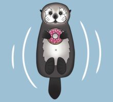 Sea Otter with Donut - Cute Otter Holding Doughnut with Little Paws One Piece - Short Sleeve