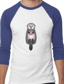 Sea Otter with Donut - Cute Otter Holding Doughnut with Little Paws Men's Baseball ¾ T-Shirt