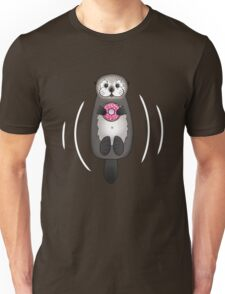Sea Otter with Donut - Cute Otter Holding Doughnut with Little Paws Unisex T-Shirt