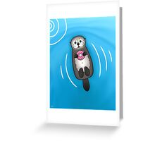 Sea Otter with Donut - Cute Otter Holding Doughnut with Little Paws Greeting Card
