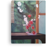 Ikebana With Tulips and Apple Blossoms Canvas Print