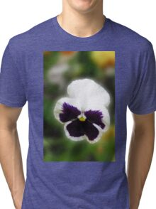 Bright and Cheerful - Pansy Portrait Tri-blend T-Shirt