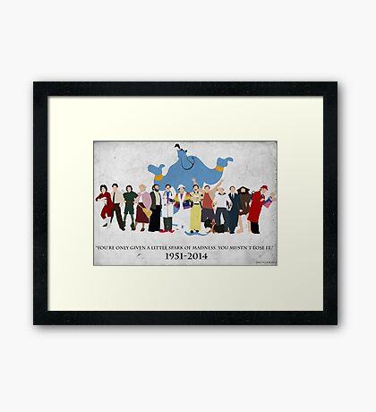 Minimalist Inspired Robin Williams Character Tribute Framed Print