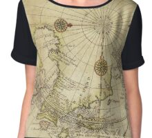 Map Of North Pole 1800 Chiffon Top