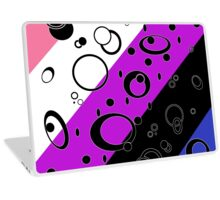 Retro Futuristic Loops, Genderfluid Pride Flag, Black Loops Laptop Skin