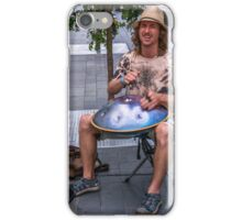 Playing the hang drum iPhone Case/Skin
