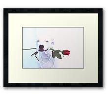 Dog with Rose Framed Print