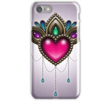Heart of Stones - Victorian Tattoo Style - Draped Jewels and Gems iPhone Case/Skin
