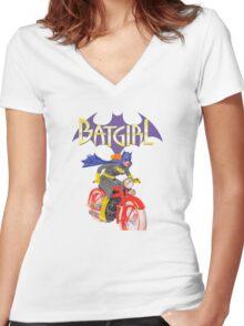 Batgirl on Batbike Women's Fitted V-Neck T-Shirt