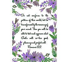 Romans 12:2 flowers blue Photographic Print