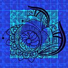 Zentangle in Blue by Dana Roper