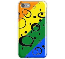 Retro Futuristic Loops, Rainbow Pride Flag, Black Loops iPhone Case/Skin