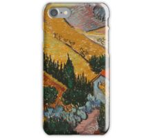 Vincent Van Gogh - Landscape With House And Ploughman 1889 iPhone Case/Skin
