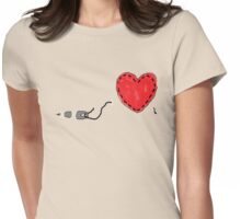 Sew on heart Womens Fitted T-Shirt