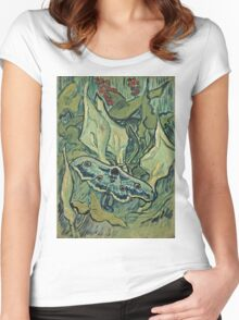 Vincent Van Gogh - Giant Peacock Moth, May 1889 - 1889  Women's Fitted Scoop T-Shirt