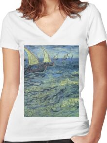 Vincent Van Gogh - Fishing Boats At Sea, 1888 Women's Fitted V-Neck T-Shirt