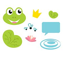 Fairy Frog cartoon icons and elements Photographic Print