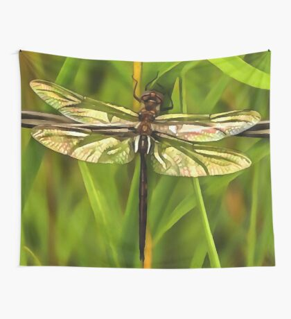 Dragonfly In Brown And Yellow Wall Tapestry