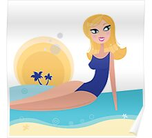 Cute chic on the beach. Stylized water and sun behind the girl Poster