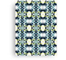Retro Teal, Blue and Yellow Abstract Design Pattern Canvas Print