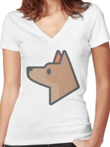 Sniffer Dog Icon Women's Fitted V-Neck T-Shirt