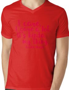 Leslie Cares. A lot. Mens V-Neck T-Shirt