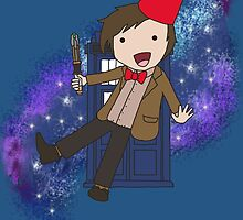 Cartoon 11th Doctor (with Tardis) by thatgirlshannon