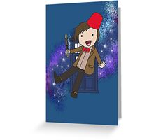 Cartoon 11th Doctor (with Tardis) Greeting Card