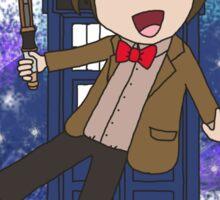 Cartoon 11th Doctor (with Tardis) Sticker