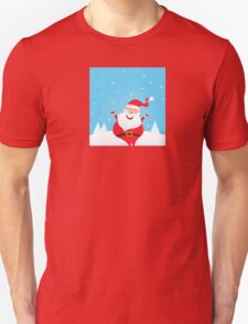 Happy Santa Claus with falling snow and trees Unisex T-Shirt