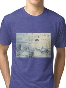 Colorful watercolor painting with boats on the bay Tri-blend T-Shirt
