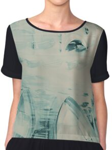 Colorful watercolor painting with boats on the bay Chiffon Top