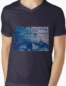Colorful watercolor painting with boats on the bay Mens V-Neck T-Shirt