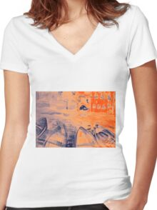 Colorful watercolor painting with boats on the bay Women's Fitted V-Neck T-Shirt