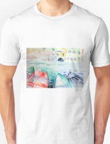 Colorful watercolor painting with boats on the bay Unisex T-Shirt