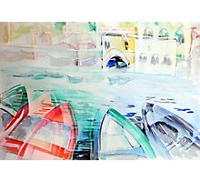 Colorful watercolor painting with boats on the bay Photographic Print