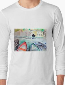 Colorful watercolor painting with boats on the bay Long Sleeve T-Shirt