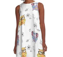 Seamless pattern with hand drawn doodle owls A-Line Dress