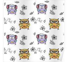 Seamless pattern with hand drawn doodle owls Poster