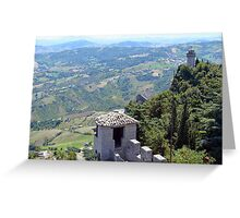 Aerial view of San Marino with towers Greeting Card