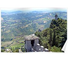 Aerial view of San Marino with towers Poster