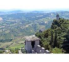 Aerial view of San Marino with towers Photographic Print