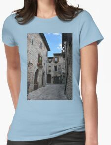 Street from Assisi with stone buildings Womens Fitted T-Shirt