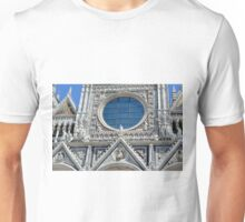 Detail of cathedral facade with rosette from Siena Unisex T-Shirt
