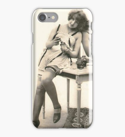 A portrait of a 20's Lady sitting at her dressing table iPhone Case/Skin