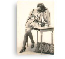 A portrait of a 20's Lady sitting at her dressing table Canvas Print