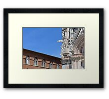 Detail of cathedral from Siena and surrounding building Framed Print