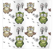 different owls,hand drawing Poster