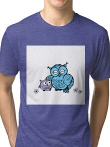 mother owl and owlet,  hand drawing  Tri-blend T-Shirt