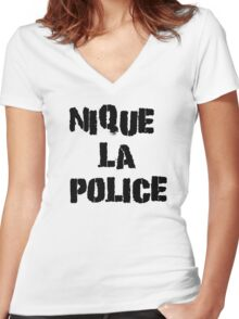 Fuck The Police Classic French Movie Quotes Rap Song Lyrics T-Shirts Women's Fitted V-Neck T-Shirt